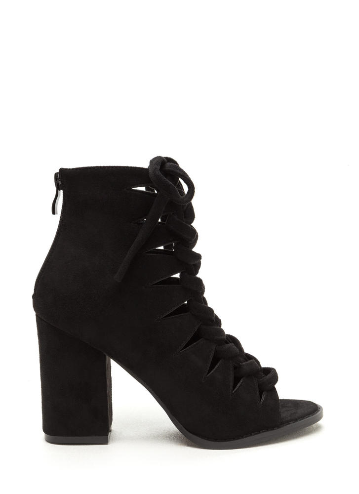 Street Cred Chunky Laced Cut-Out Booties BLACK