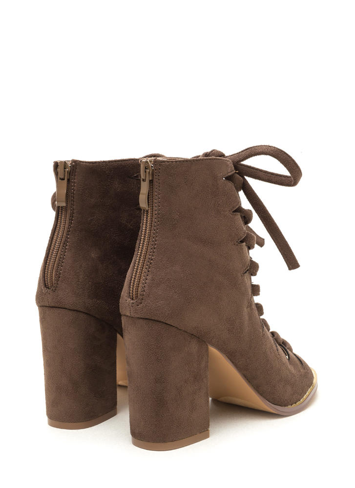 Street Cred Chunky Laced Cut-Out Booties TAUPE