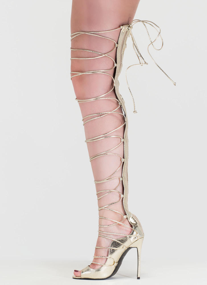 Snake A Look Lace-Up Faux Patent Heels GOLD