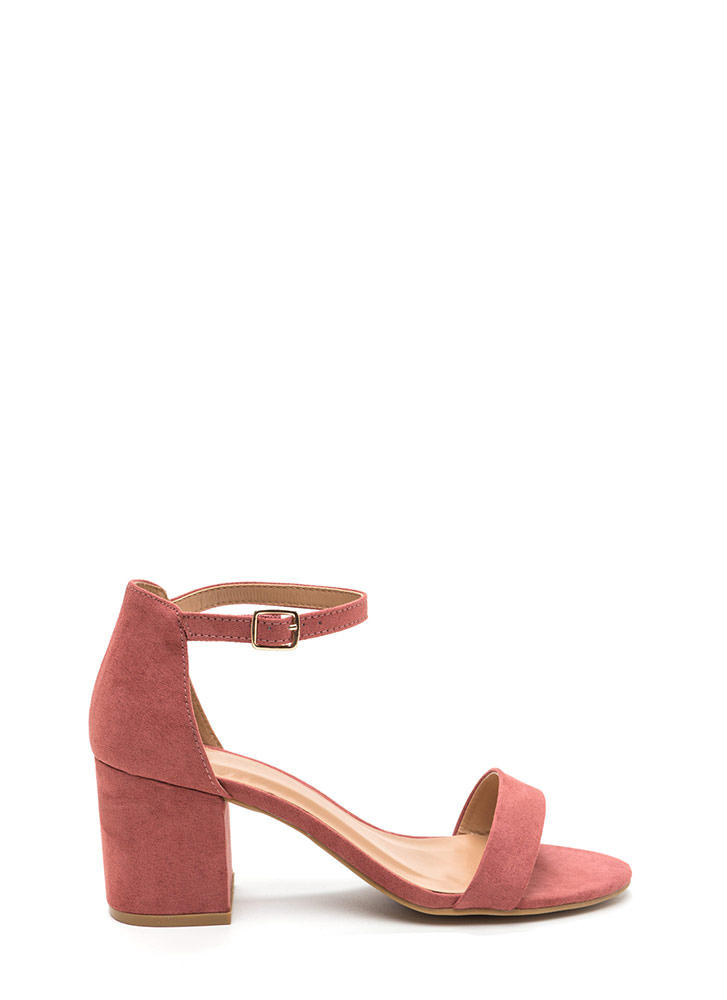 World Tour Faux Suede Block Heels DKMAUVE