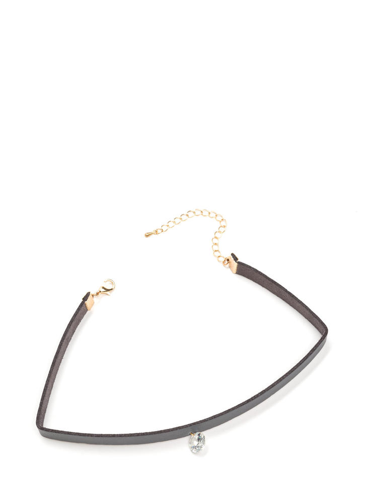 Crystal Clear Faux Leather Choker GREYGOLD
