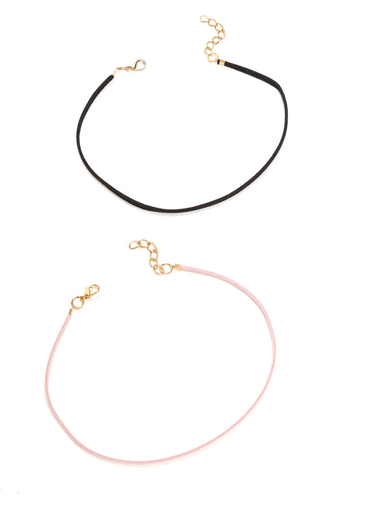 Two Skinny Faux Leather Choker Set BLUSHBLACK