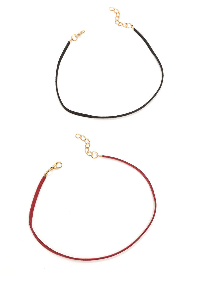 Two Skinny Faux Leather Choker Set BURGUNDYBLK