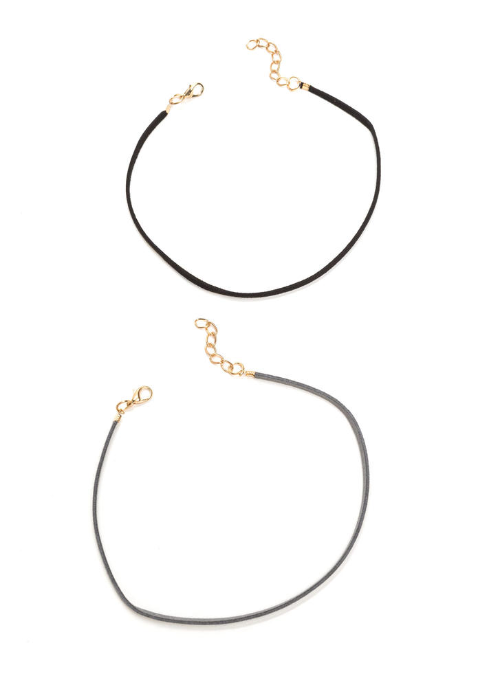 Two Skinny Faux Leather Choker Set GREYBLACK