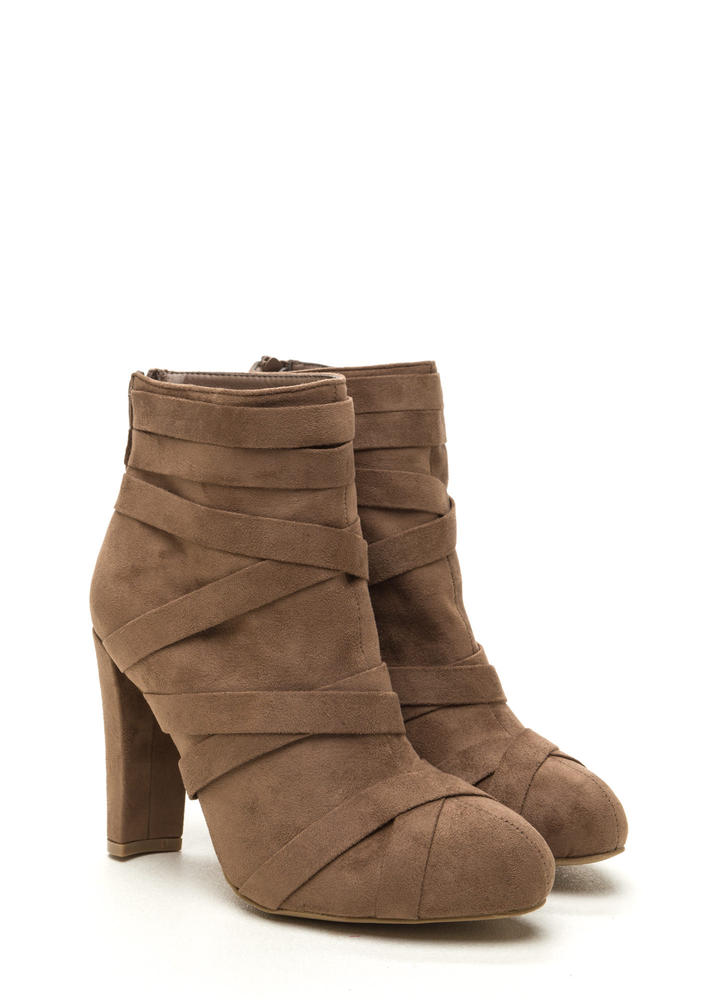 Cross Walk Chunky Faux Suede Booties TAUPE
