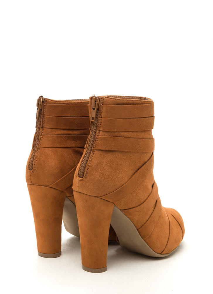 Cross Walk Chunky Faux Suede Booties WHISKY