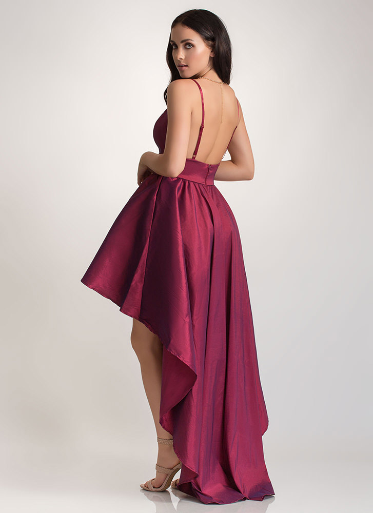 Under The Moonlight High-Low Gown WINE