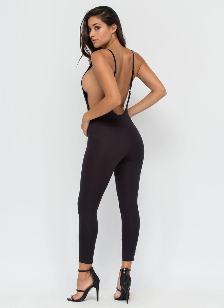 U Got It Cropped Open Back Jumpsuit BLACK