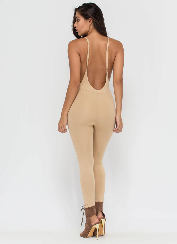 U Got It Cropped Open Back Jumpsuit KHAKI