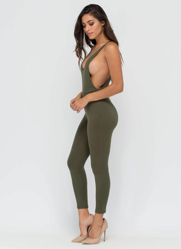 U Got It Cropped Open Back Jumpsuit OLIVE