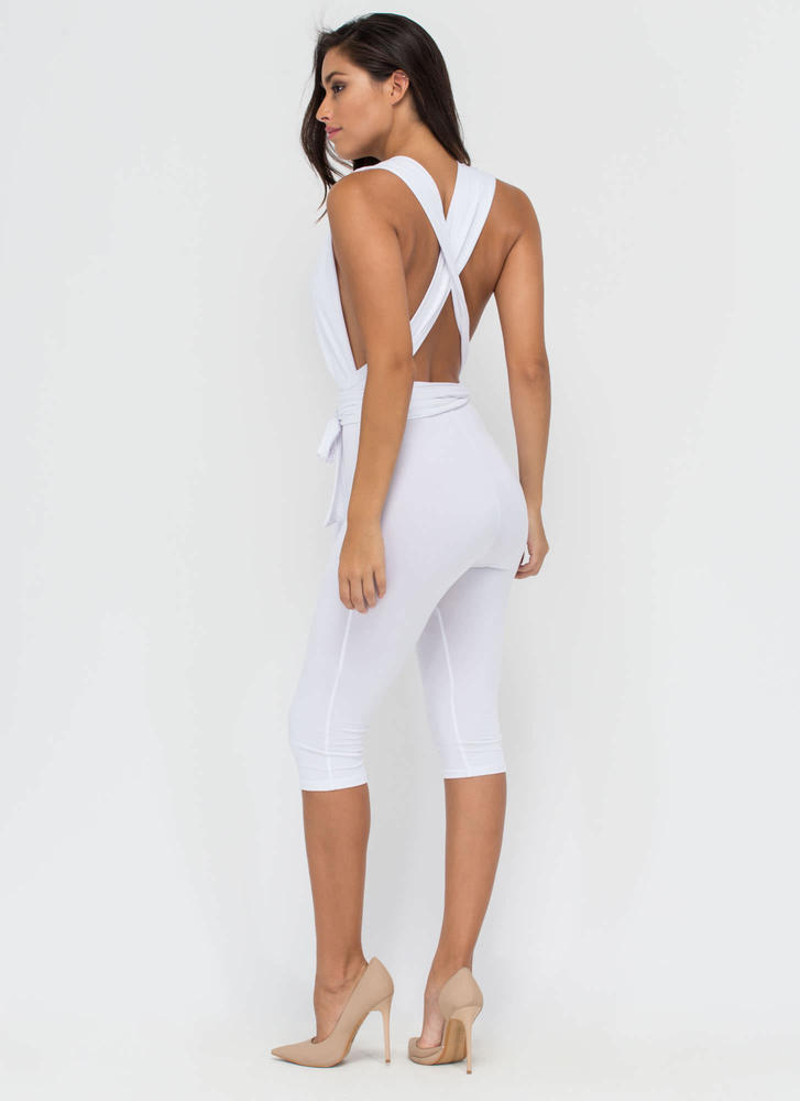 Up To You Cropped Convertible Jumpsuit WHITE