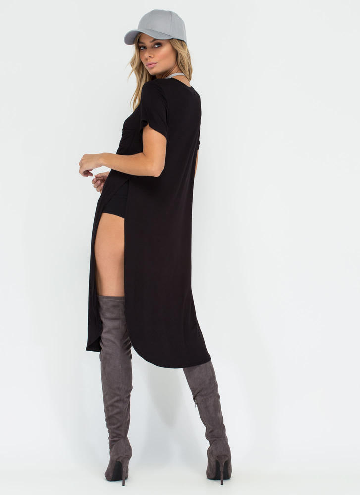 Slit Up Take Notice T-Shirt Midi Dress BLACK