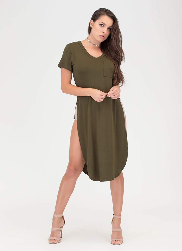Slit Up Take Notice T-Shirt Midi Dress OLIVE