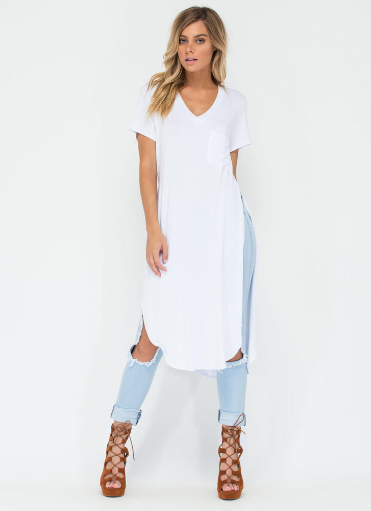Slit Up Take Notice T-Shirt Midi Dress WHITE