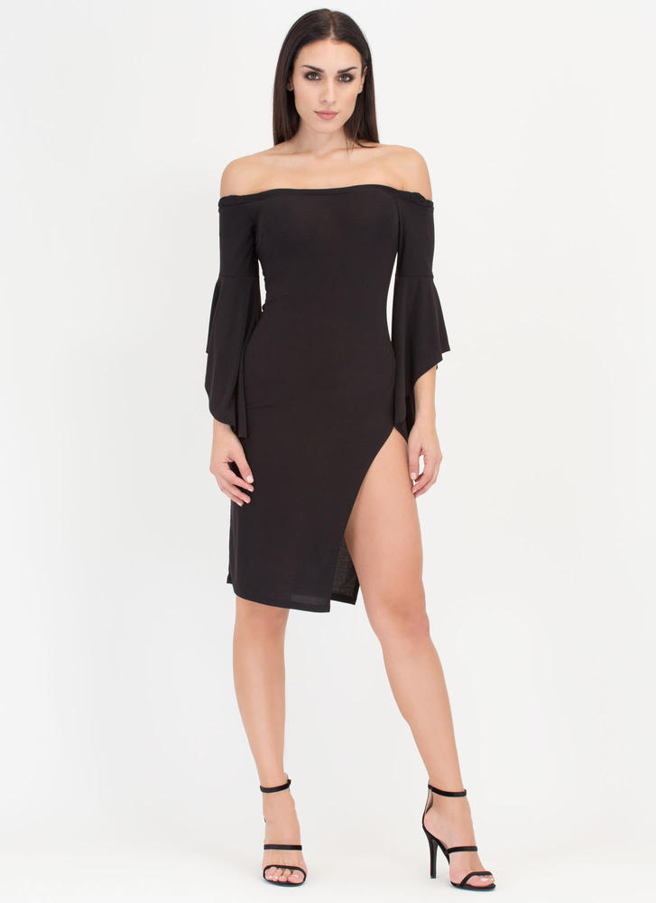 Flying Off-Shoulder Flutter Sleeve Dress BLACK