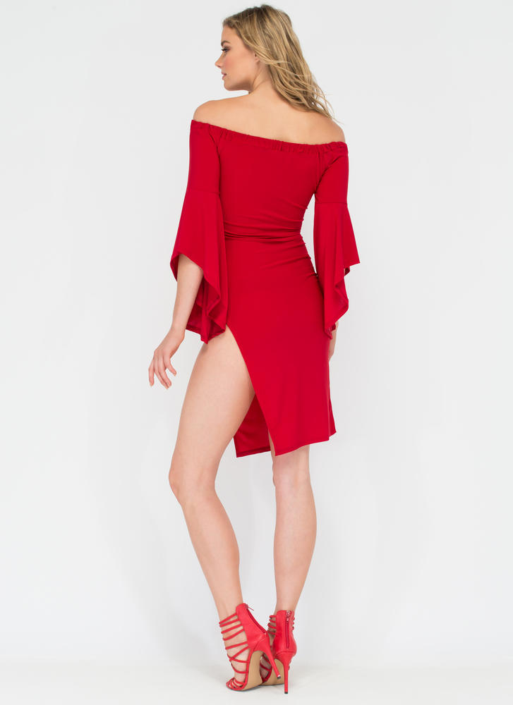 Flying Off-Shoulder Flutter Sleeve Dress RED