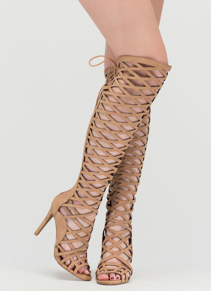 Playing With Fire Caged Gladiator Heels DKSAND (Final Sale)