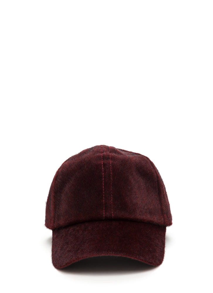 Keep Your Cool Faux Calf Hair Cap BURGUNDY