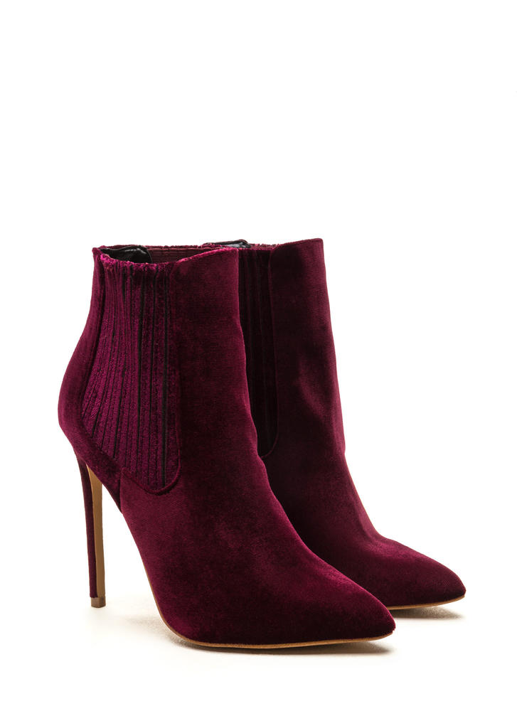 Sleek Attack Pointy Velvet Booties WINE