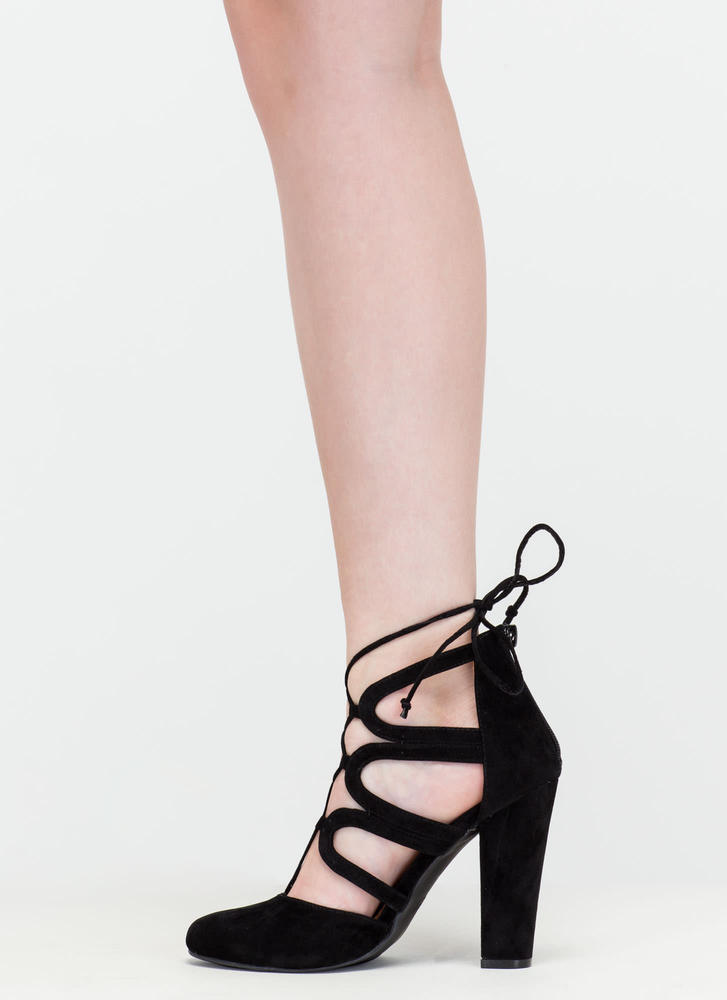 Vixen In Velvet Chunky Lace-Up Heels BLACK