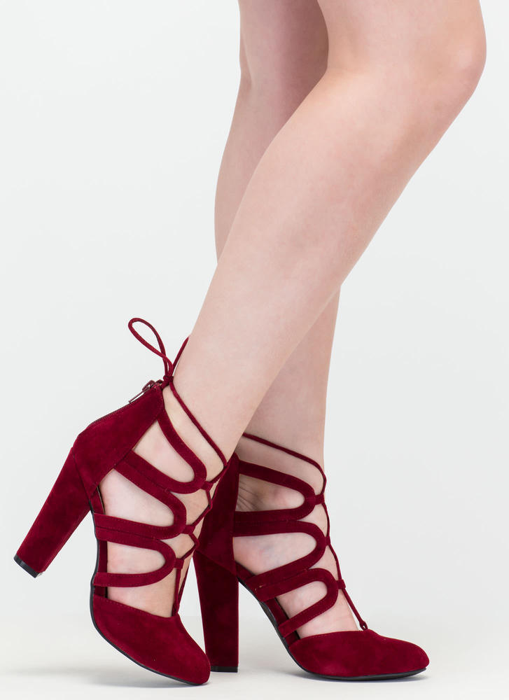 Vixen In Velvet Chunky Lace-Up Heels WINE