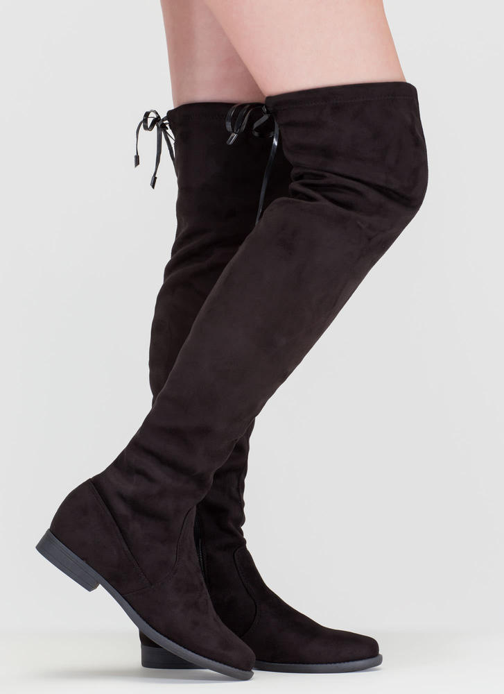 Heart String' Flat Drawstring Over-The-Knee Faux Suede Boots ...