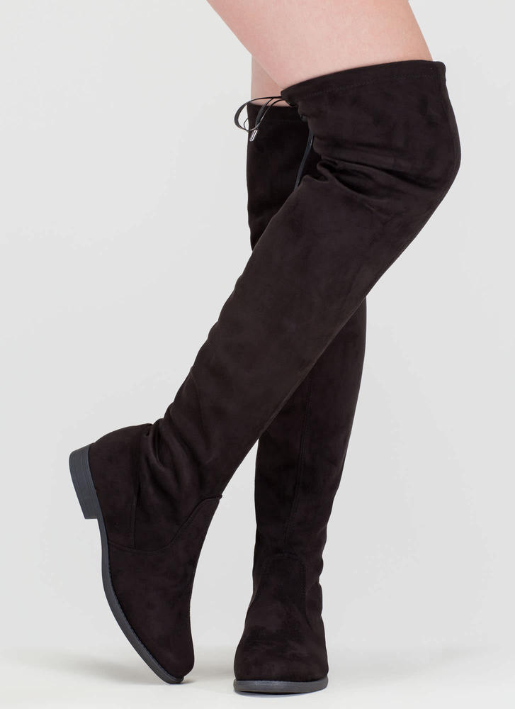 Heart String Thigh-High Drawstring Boots BLACK
