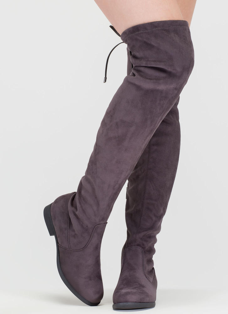 Heart String Thigh-High Drawstring Boots GREY