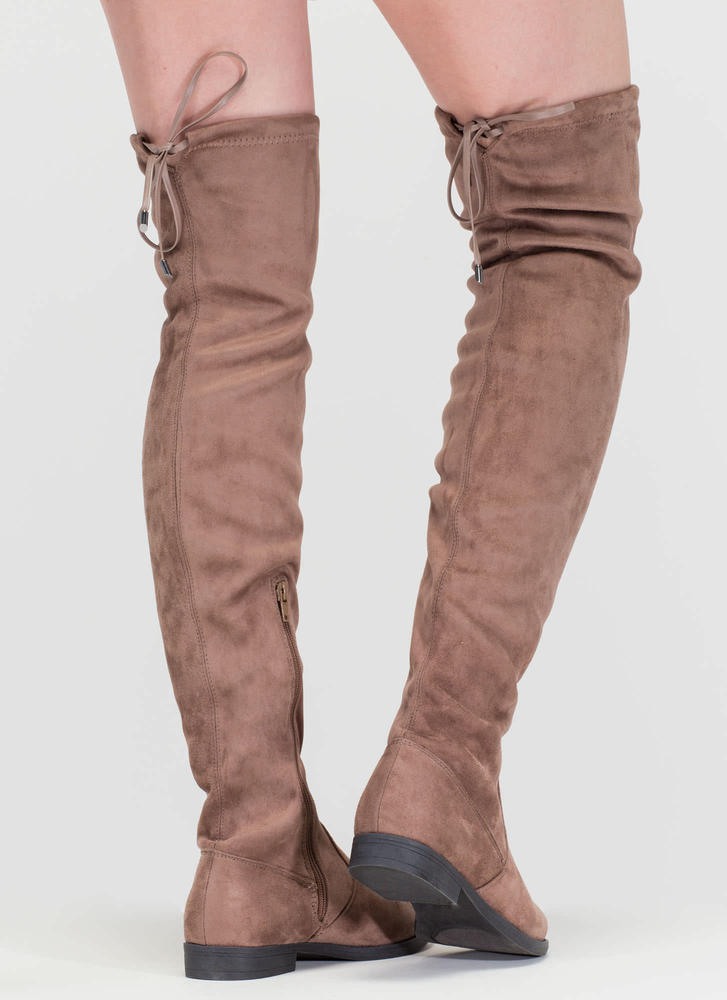 Heart String Thigh-High Drawstring Boots TAUPE