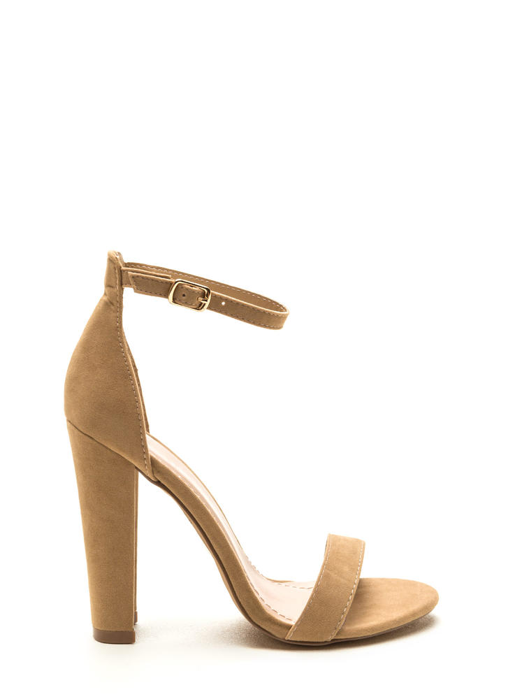 Simple Statement Chunky Velvet Heels CAMEL