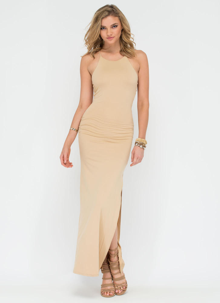 Cage Of Consent Ladder Strap Maxi Dress TAUPE