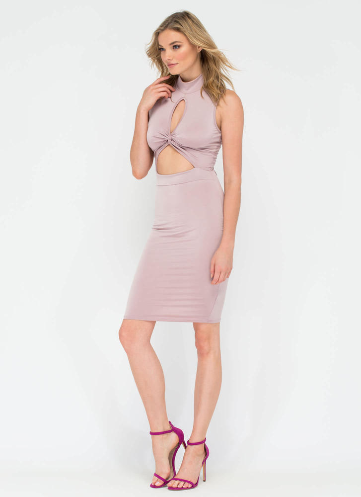 Twisting The Night Away Cut-Out Dress MAUVE (Final Sale)
