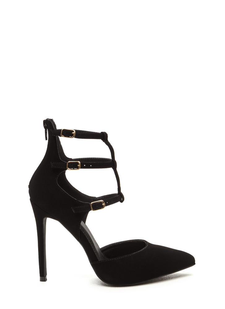 New Age Pointy Caged Faux Nubuck Heels BLACK