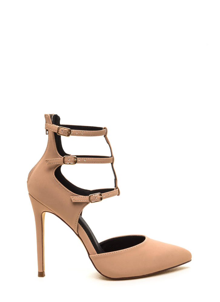 New Age Pointy Caged Faux Nubuck Heels NUDE