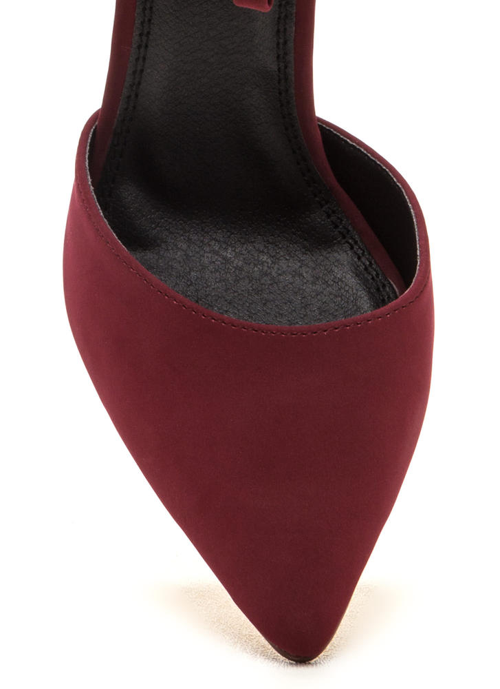 New Age Pointy Caged Faux Nubuck Heels WINE