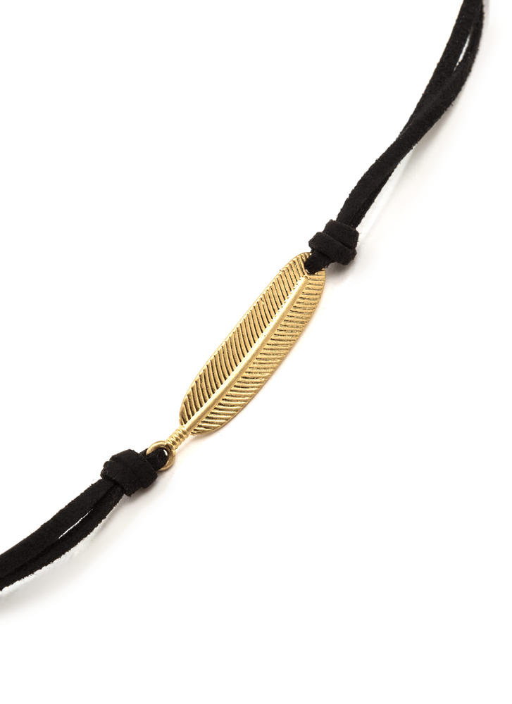 Feather Weather Faux Suede Cord Necklace BLACK (Final Sale)