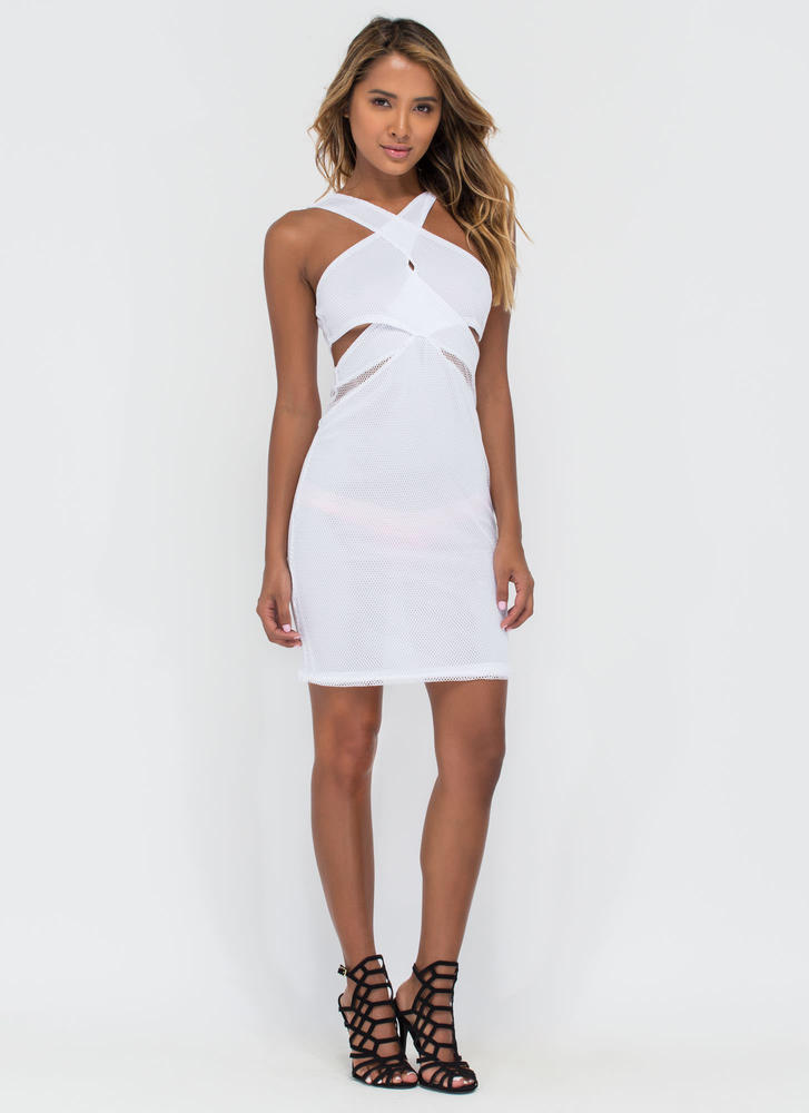 Cross Boss Cut-Out Mesh Midi Dress