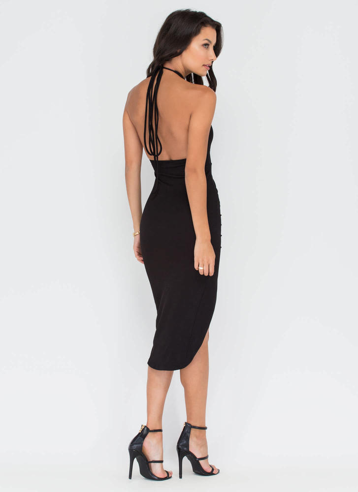 Picture Perfect Plunging High-Low Dress BLACK