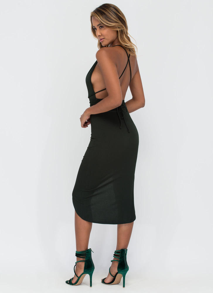 Picture Perfect Plunging High-Low Dress HGREEN