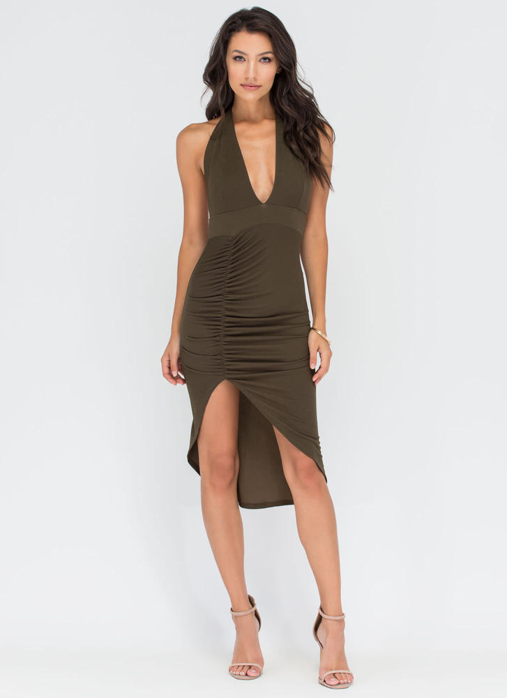 Picture Perfect Plunging High-Low Dress