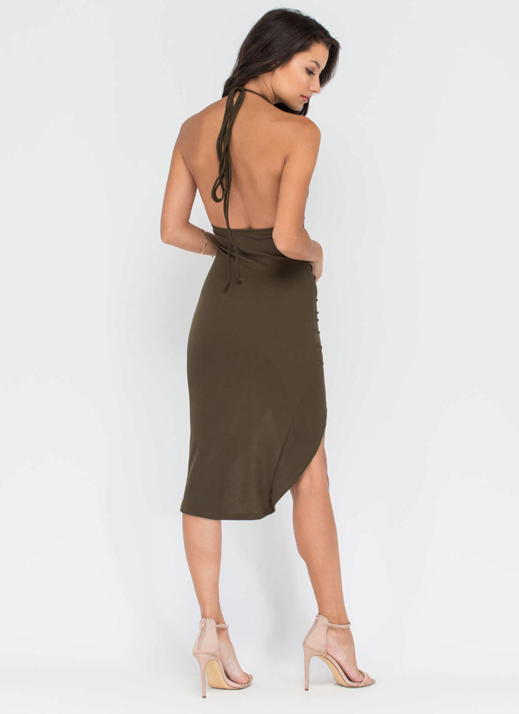 Picture Perfect Plunging High-Low Dress OLIVE