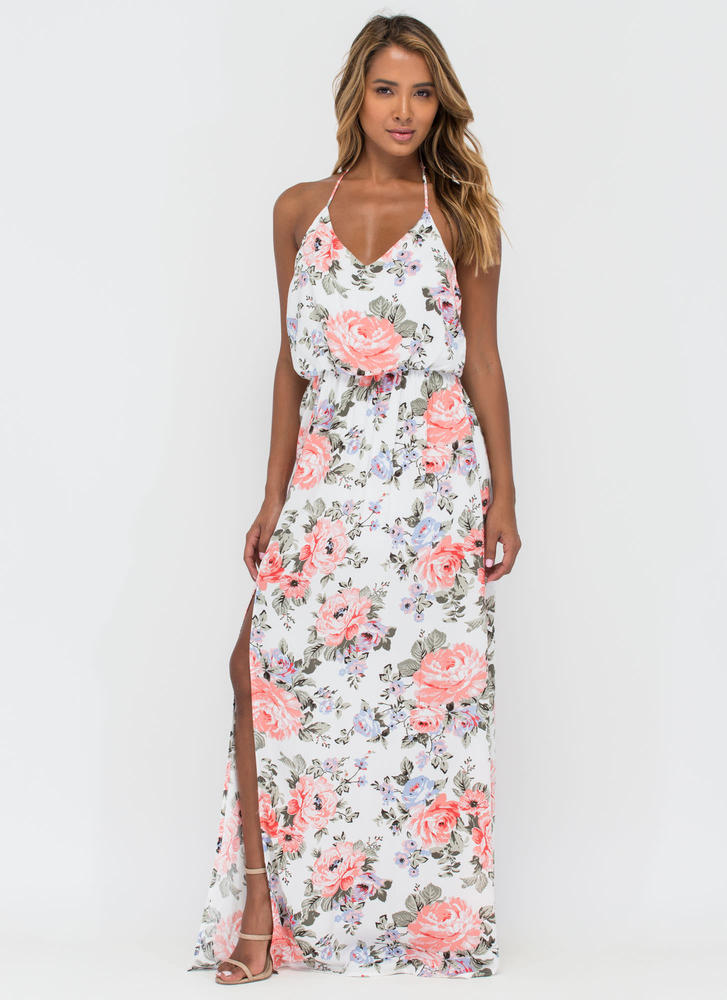 Primrose Party Floral Halter Maxi Dress