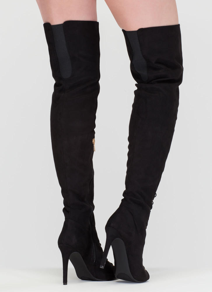 True Story Over-The-Knee Laced Boots BLACK