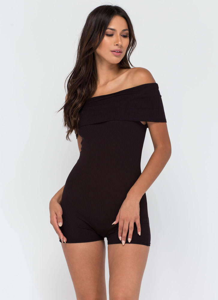 Fold Up Ribbed Off-Shoulder Romper BLACK