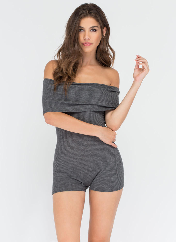Fold Up Ribbed Off-Shoulder Romper CHARCOAL