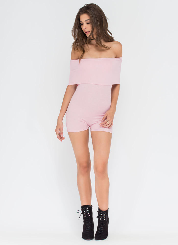 Fold Up Ribbed Off-Shoulder Romper MAUVE