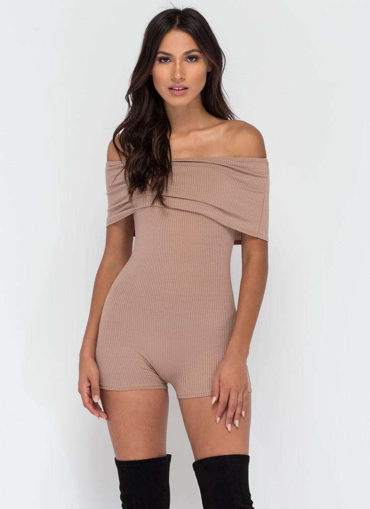 Fold Up Ribbed Off-Shoulder Romper MOCHA