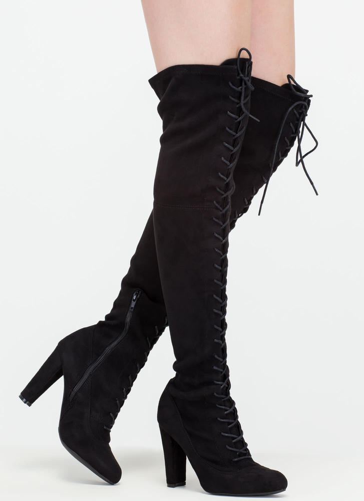 On Corset Lace-Up Over-The-Knee Boots BLACK - GoJane.com