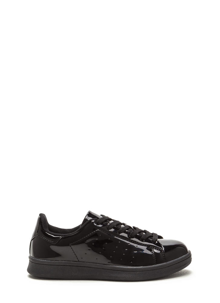 Sole Seeker Faux Patent Leather Sneakers BLACK (Final Sale)
