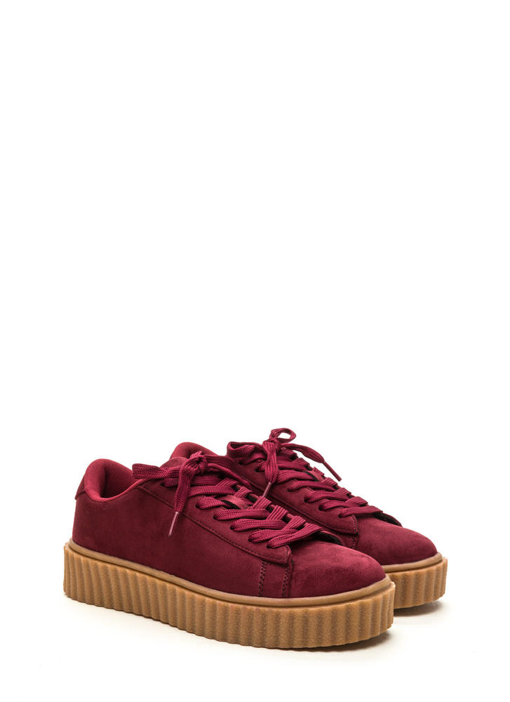 Jeepers Creepers Platform Sneakers WINE